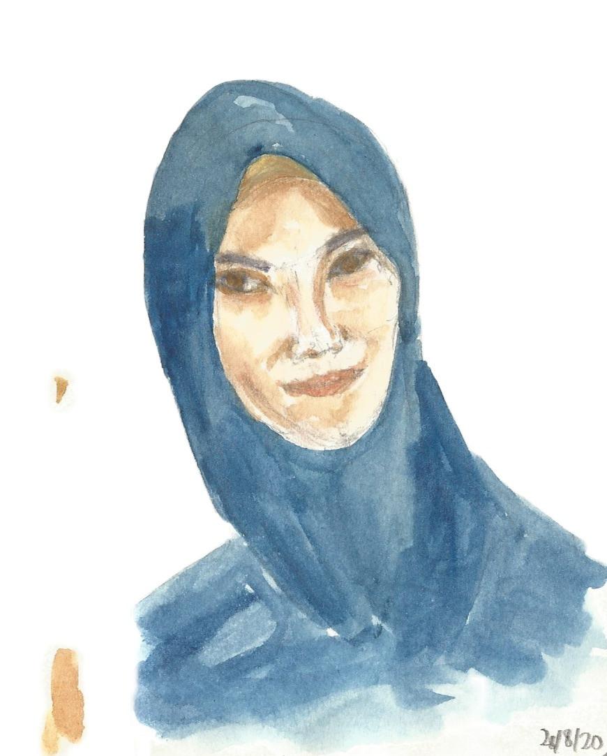 Self-Portrait on A6 Moleskine . Pencil, Watercolor Pencil, and Watercolor.