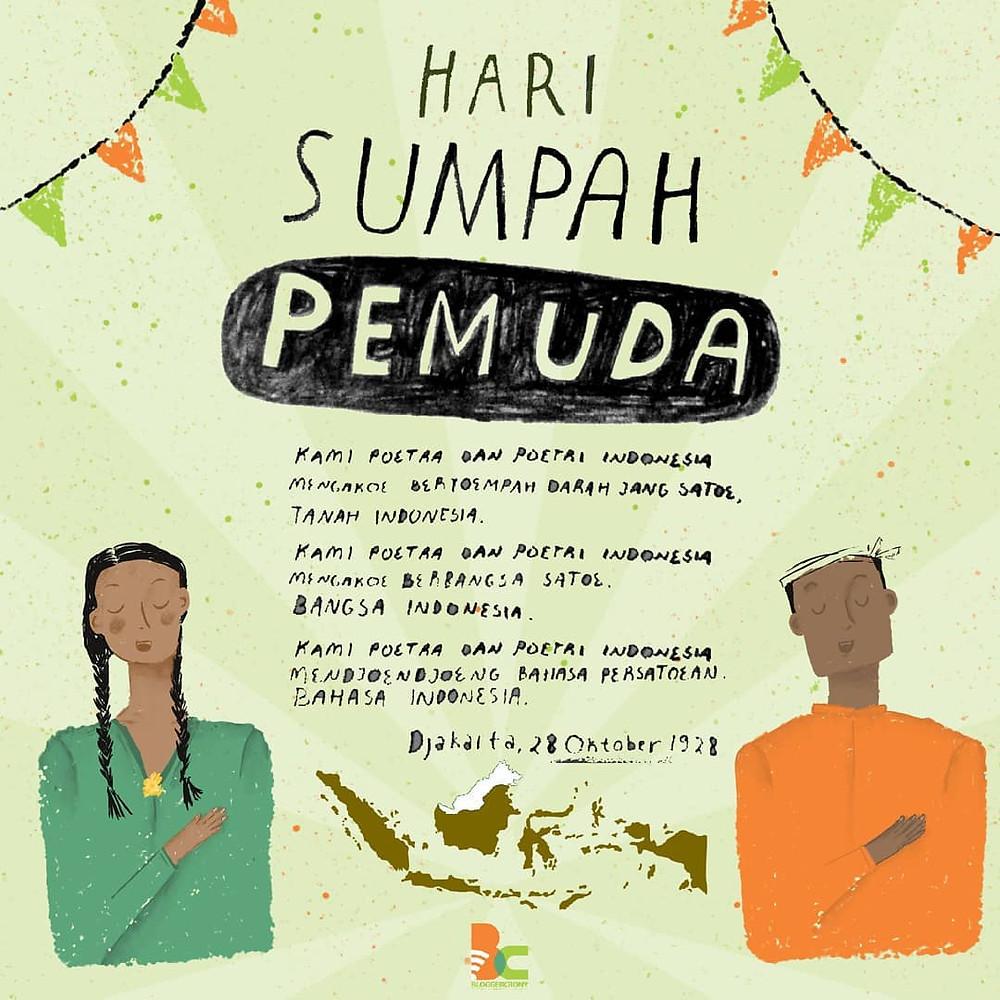hari sumpah pemuda ilustrasi poster - oramuf