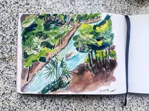 Sketchbook - Landscape Sungai dan Tebing