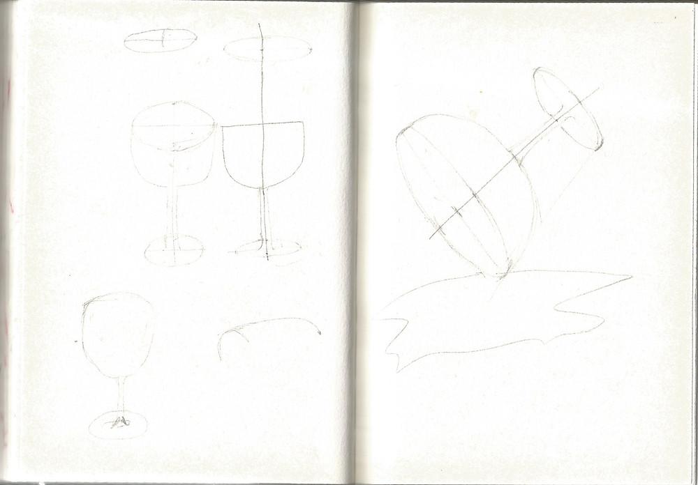 Ki: ellipse perspective dengan instruksi ; Ka: gelas tumpah