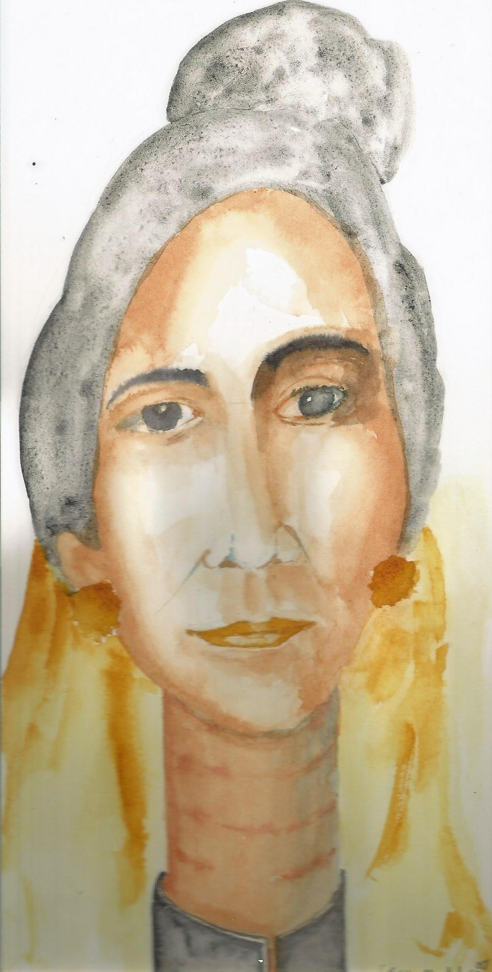 gambar cut meutia sketsa watercolor