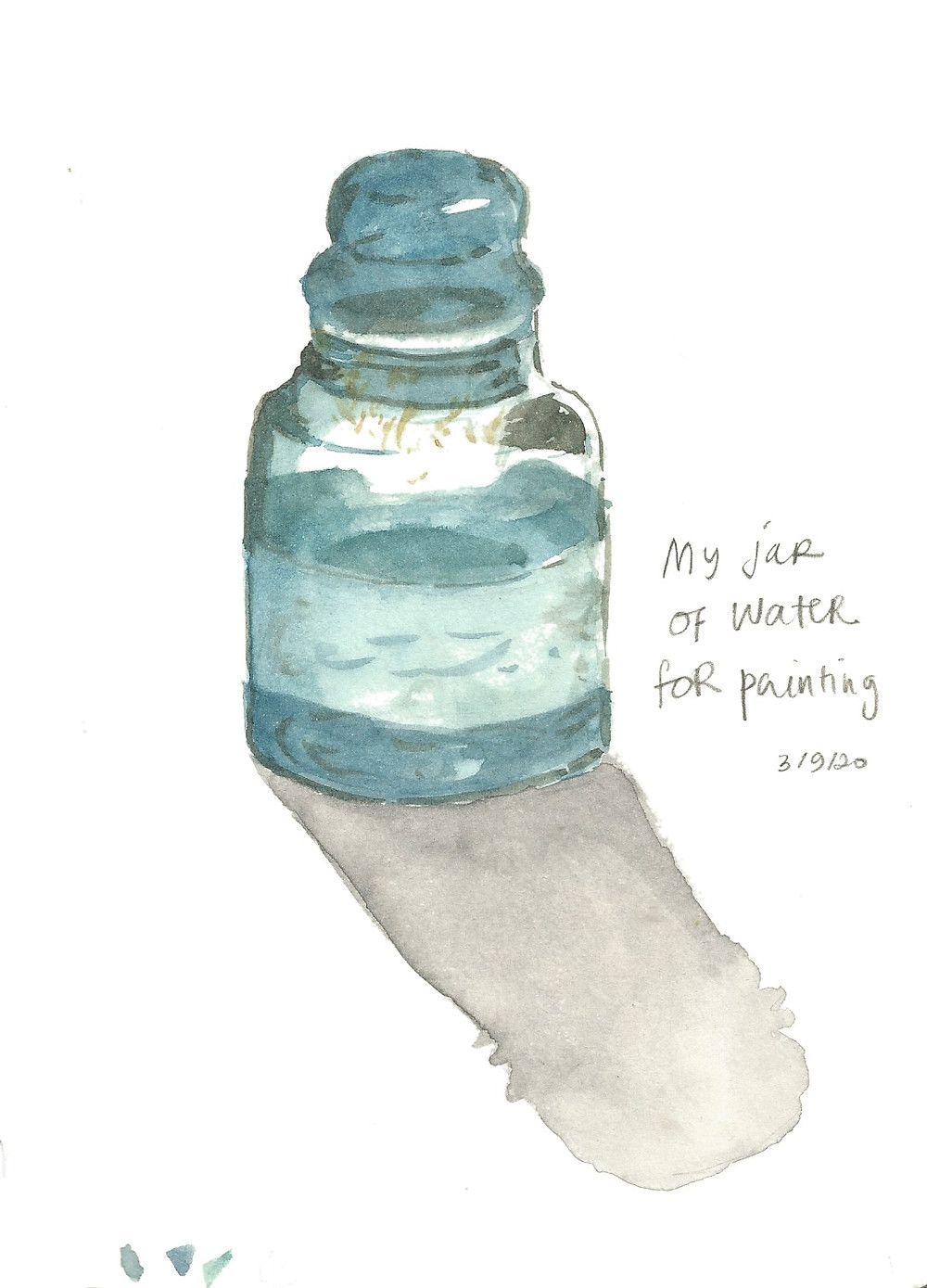 My Jar of Water. Pencil and watercolor on A5 Moleskine.