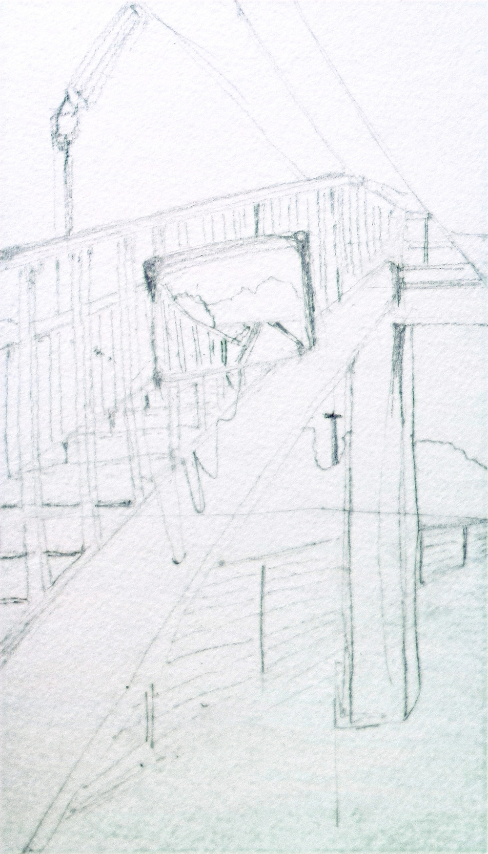 When the Train Stop: On My Way to Takayama. Pencil sketch on Fluid Cold-Pressed Paper.