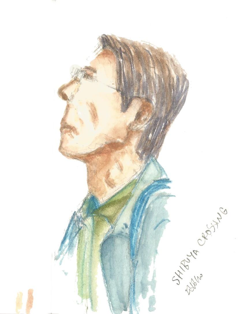 Old-Man, Still Working. A6 Sketchbook. Pencil, Watercolor Pencil, Watercolor.