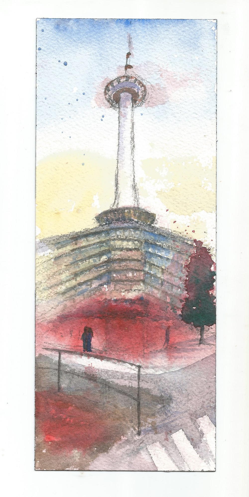 Kyoto Tower. Pencil and watercolor on paper.