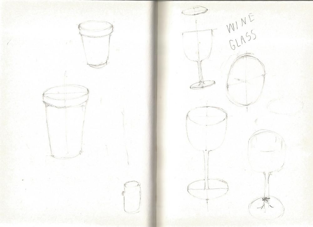 Ki: pot bunga ; Ka: gambar ulang gelas