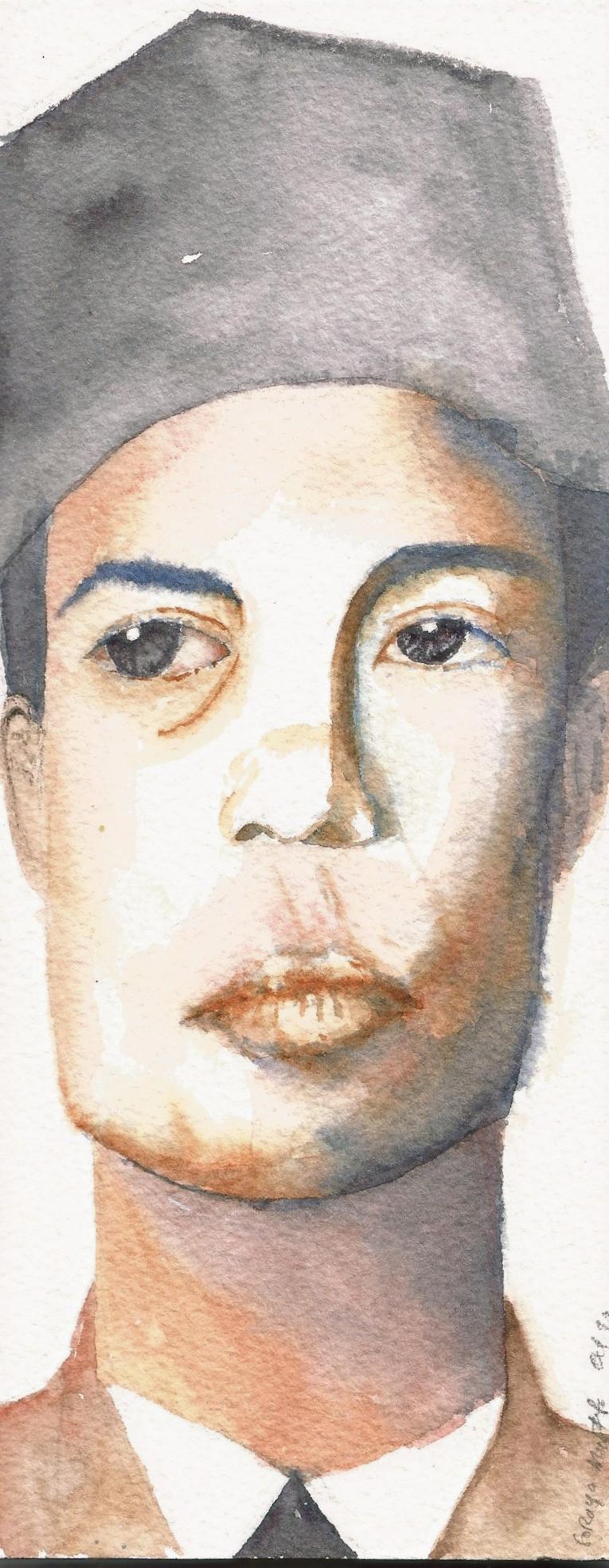 sketsa wajah watercolor jenderal soedirman karikatur