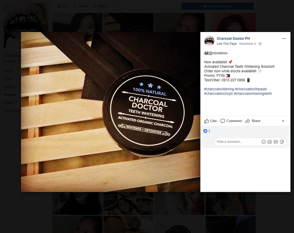 activated charcoal tooth whitening product on facebook