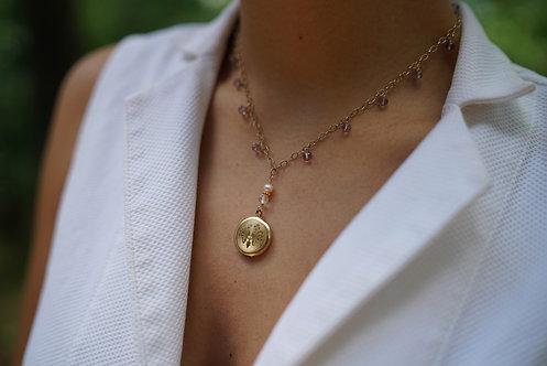 Suzanne Pink Amethyst Locket Necklace