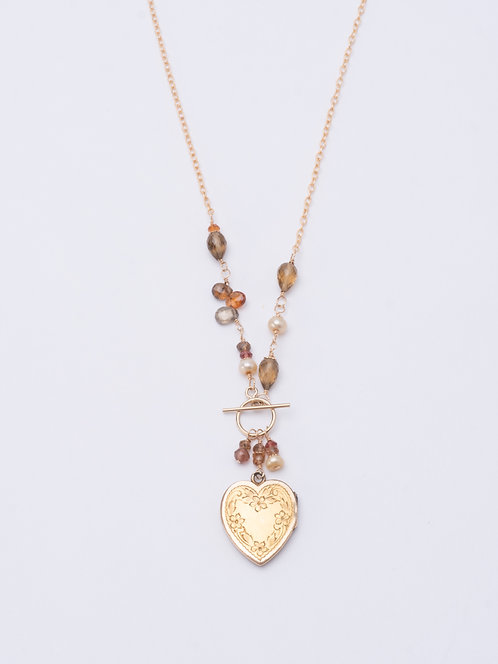 Aurelie Spinel Asymmetrical Locket Necklace