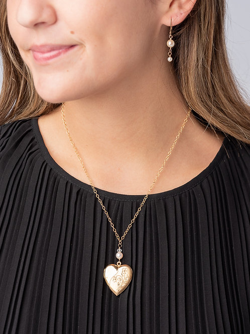 Marbella Moonstone & Pearl Gold Filled Estate Heart Locket Necklace