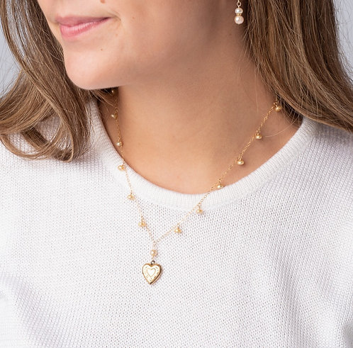 Doree Gold Pearl Drop Estate Locket Necklace