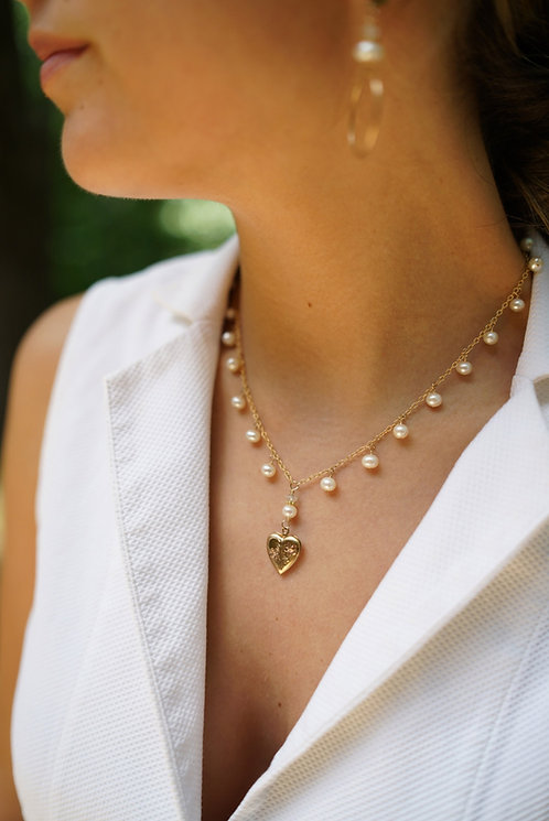 Lydia Pearl Drop Necklace With Estate Heart Locket