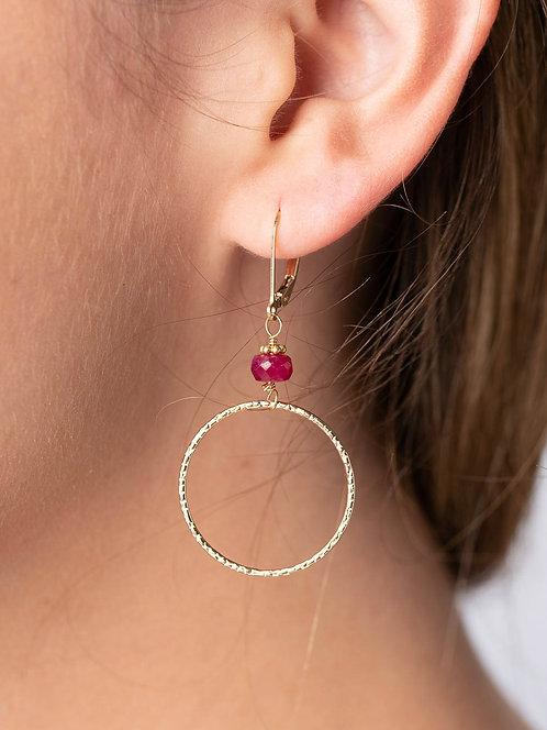 Georgia Ruby Hoop Earrings