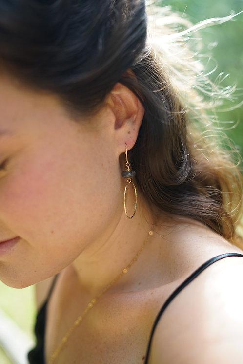 Holly Labradorite Textured Hoop Earring