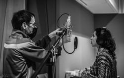 Luciana Morelli with sound engineer Daniel Dettwiler