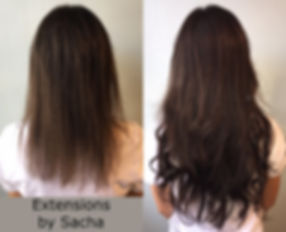 Before and after extensions by Sacha brunette back view