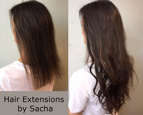 Before and after extensions by Sacha brunette side view