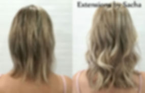 Before and after extensions by Sacha blonde back view