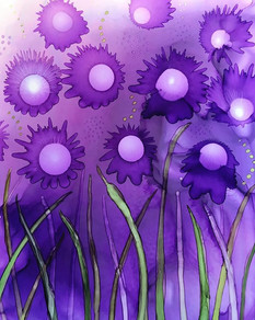 Alcohol Ink - Purple Flowers