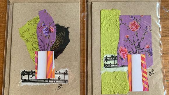 Unika collage og håndtegnede kort