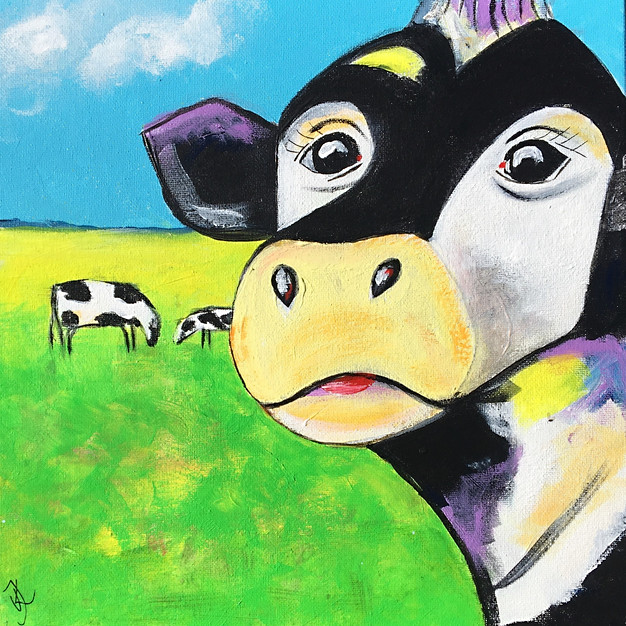 Happy Cows on Gras - 30x30