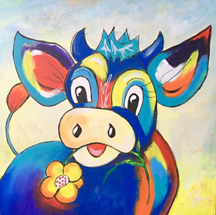 Happy Cow with Flower - 50x50