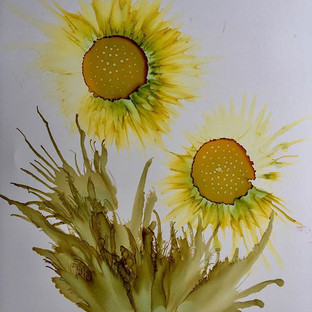 Alcohol Ink - Sunflowers