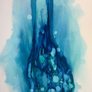 Alcohol Ink. Blue Symphonys