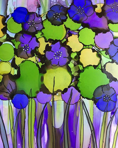 Alcohol Ink - French anemones
