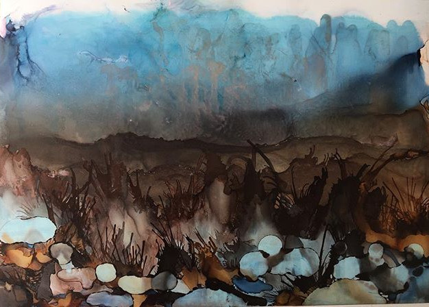 Alcohol Ink Landscape - Winther