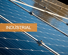 a zoom-in of solar panels installed on an industrial premises