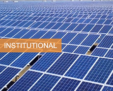 a large rooftop area of institutional premises covered with carefully positioned solar panel