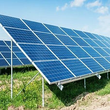 Solar panels accurately installed on land with green grass | Ground Mounted PV power plant
