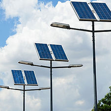 Solar panels are attached to the streetlights for direct solar power consumption | Solar Street Lights