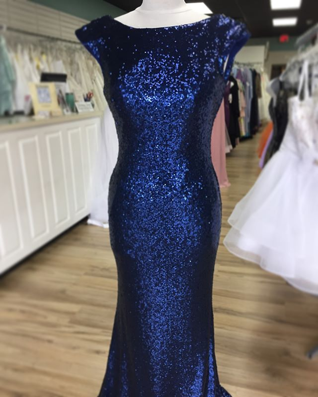 Size 10, Dark Blue Sequin with low back!