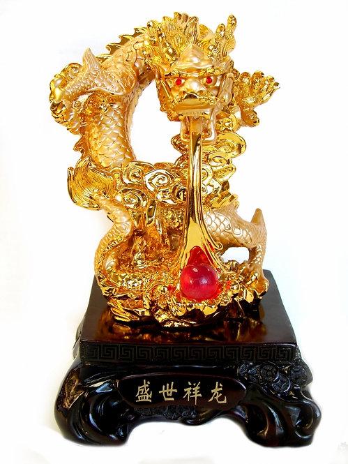 Golden Dragon Presenting Pearl of Wisdom