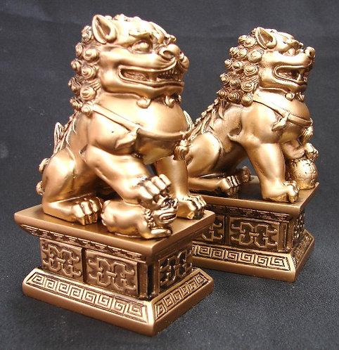 Gold Resin Foo Dogs