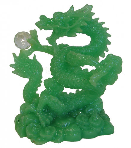 Jade Dragon with Crystal Pearl