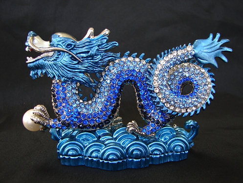 Embossed Blue Jeweled Dragon