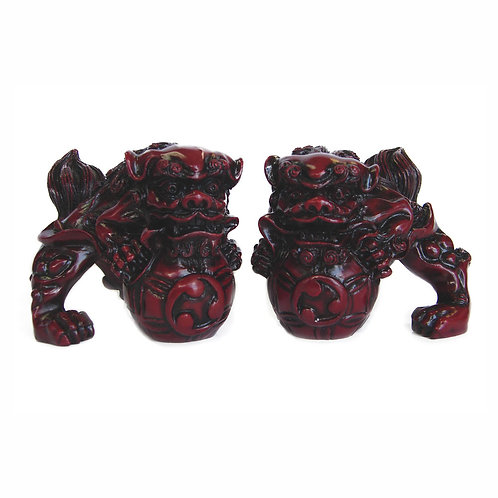 Northern Red Resin Miniature Foo Dogs