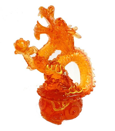 Flaming Red Resin Dragon Emerging From Fire