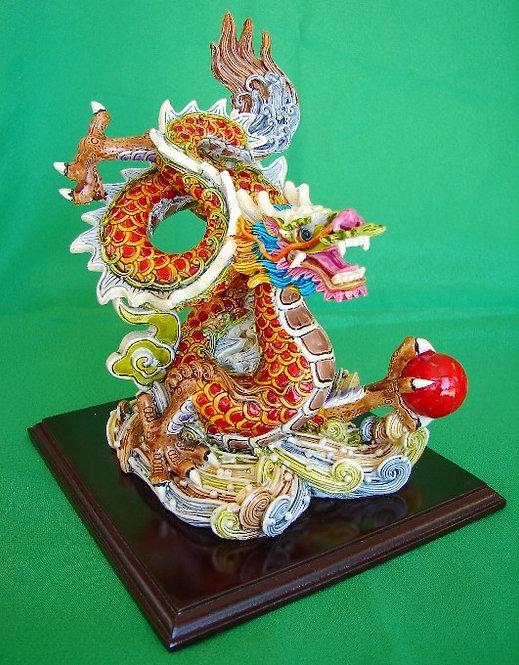 Colorful Dragon Crashing Upon Mystic Clouds