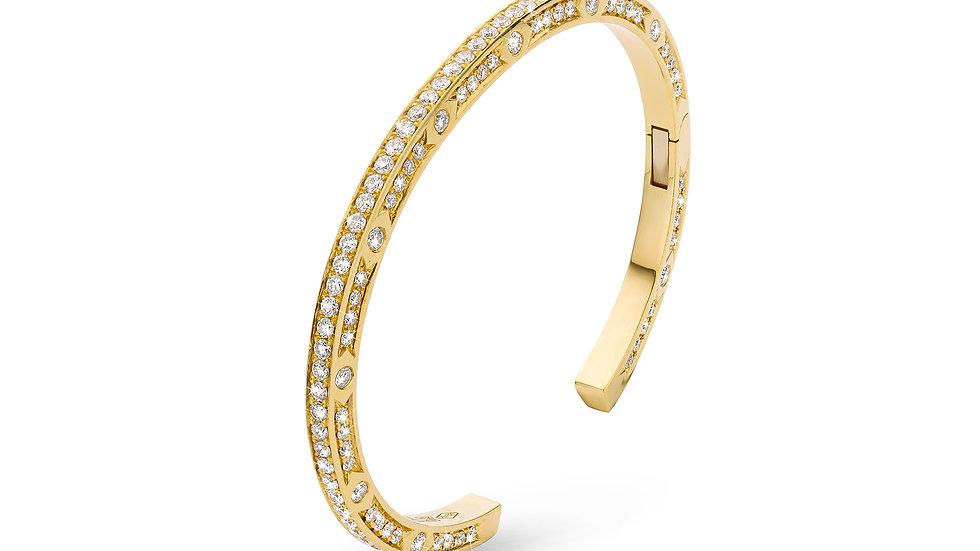 JL Bangle Yellow Gold White Diamonds