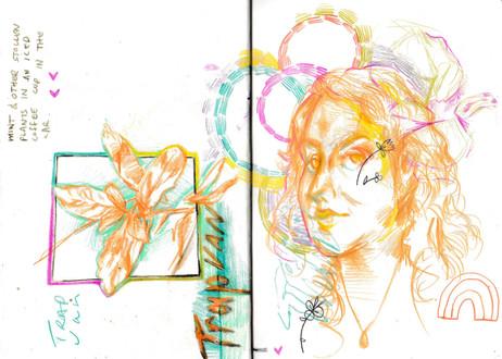 Kieley Living Here Now, sketchbook excerpt, coloured pencil, 2020