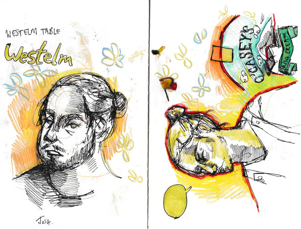 Josh and Trynn in Verdun, sketchbook excerpt, ink & pencil crayon, 2020