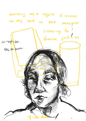 Valentina on zoom, sketchbook excerpt, ink & coloured pencil, 2020