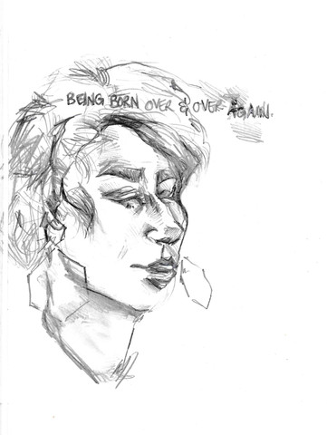 Being Born Over & Over Again, sketchbook excerpt, graphite, 2020