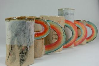 Assorted Rainbow Mugs, cone 6 stoneware, 2018