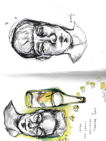 Brody & Brynn, sketchbook excerpt, ink & coloured pencil, 2020